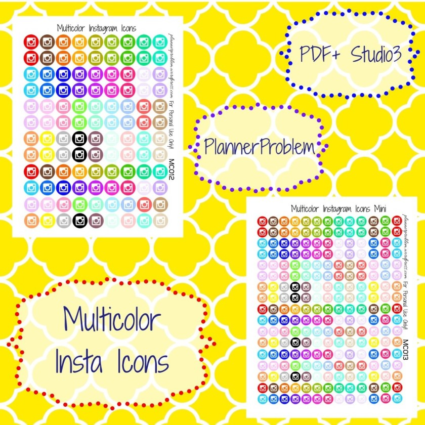 Multicolor Instagram Icons Free Printable Planner Stickers