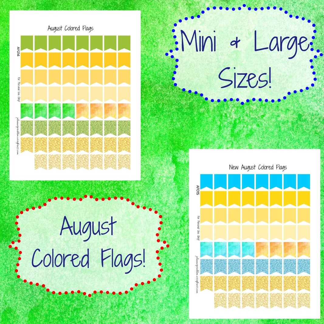 August Colored Large & Mini Page Flags | Free Printable ...