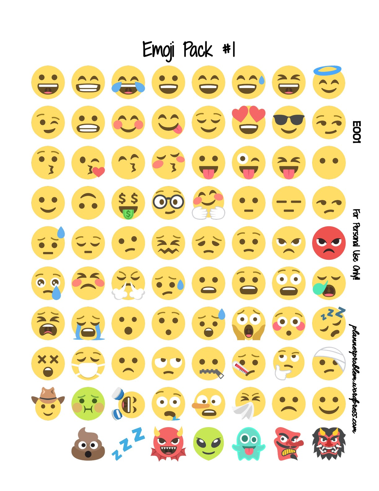 photograph relating to Printable Emojis called Emoji Pack #1 Totally free Printable Planner Stickers PlannerProblem