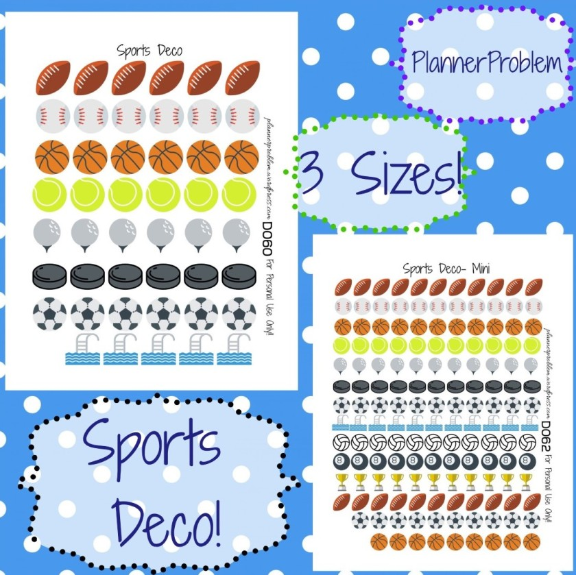 Sports deco free printable planner stickers plannerproblem