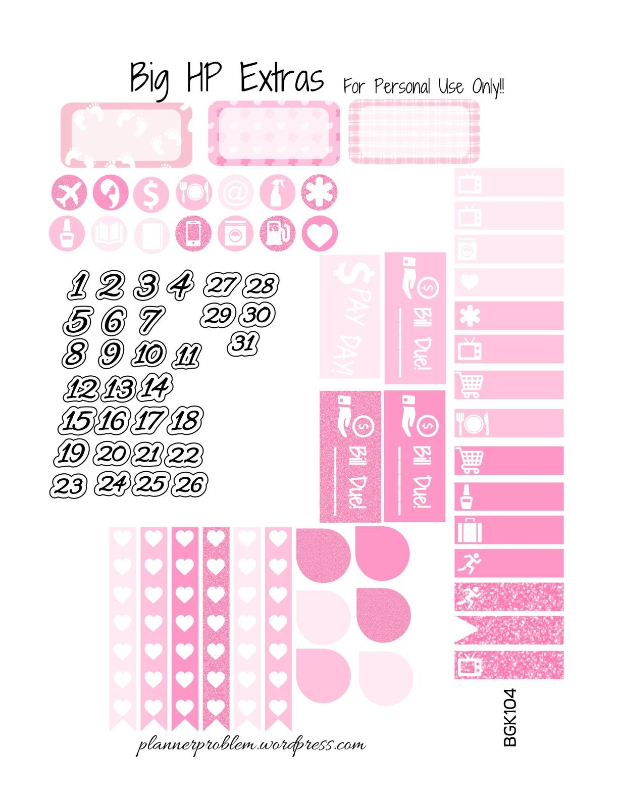 Baby Girl BONUS Kit! | Free Printable Planner Stickers ...