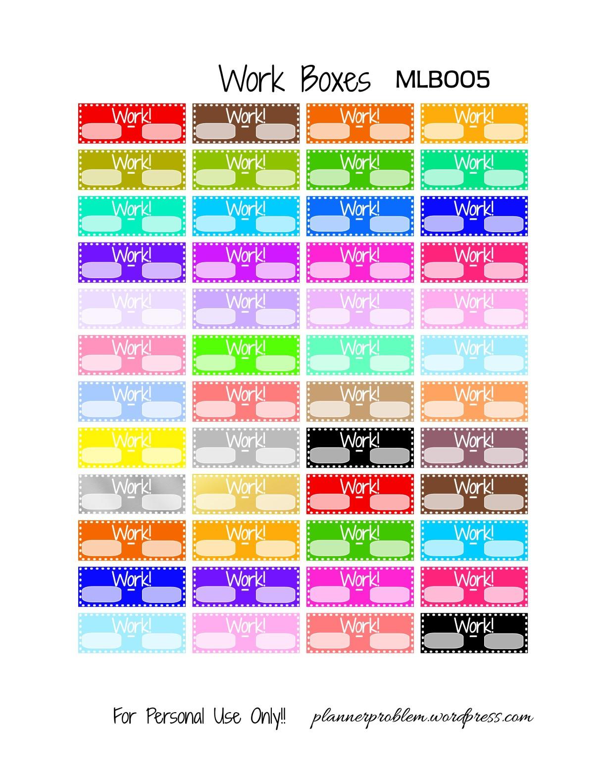 Multicolor Volunteer & Work Boxes   Free Printable Planner ...