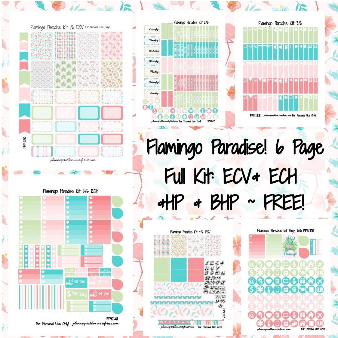 Flamingo Paradise Kit! | Free Printable Planner Stickers ...