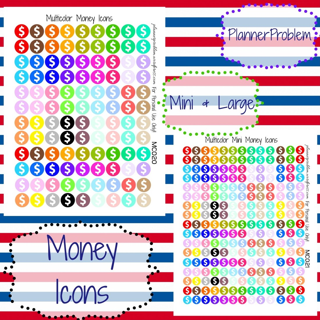 Multicolor Money Icons – Free Printable Planner Stickers ...