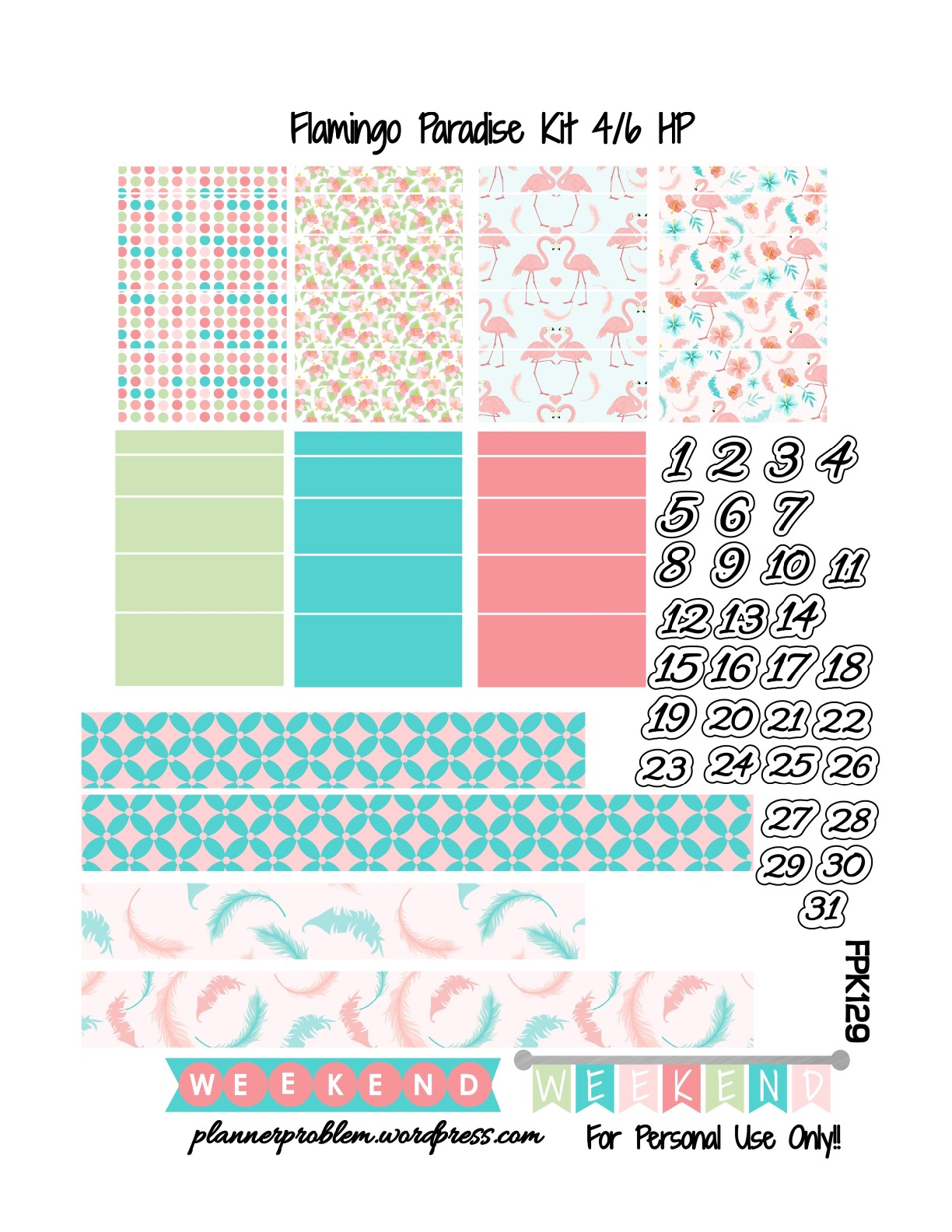 Flamingo Paradise Kit! | Free Printable Planner Stickers ...