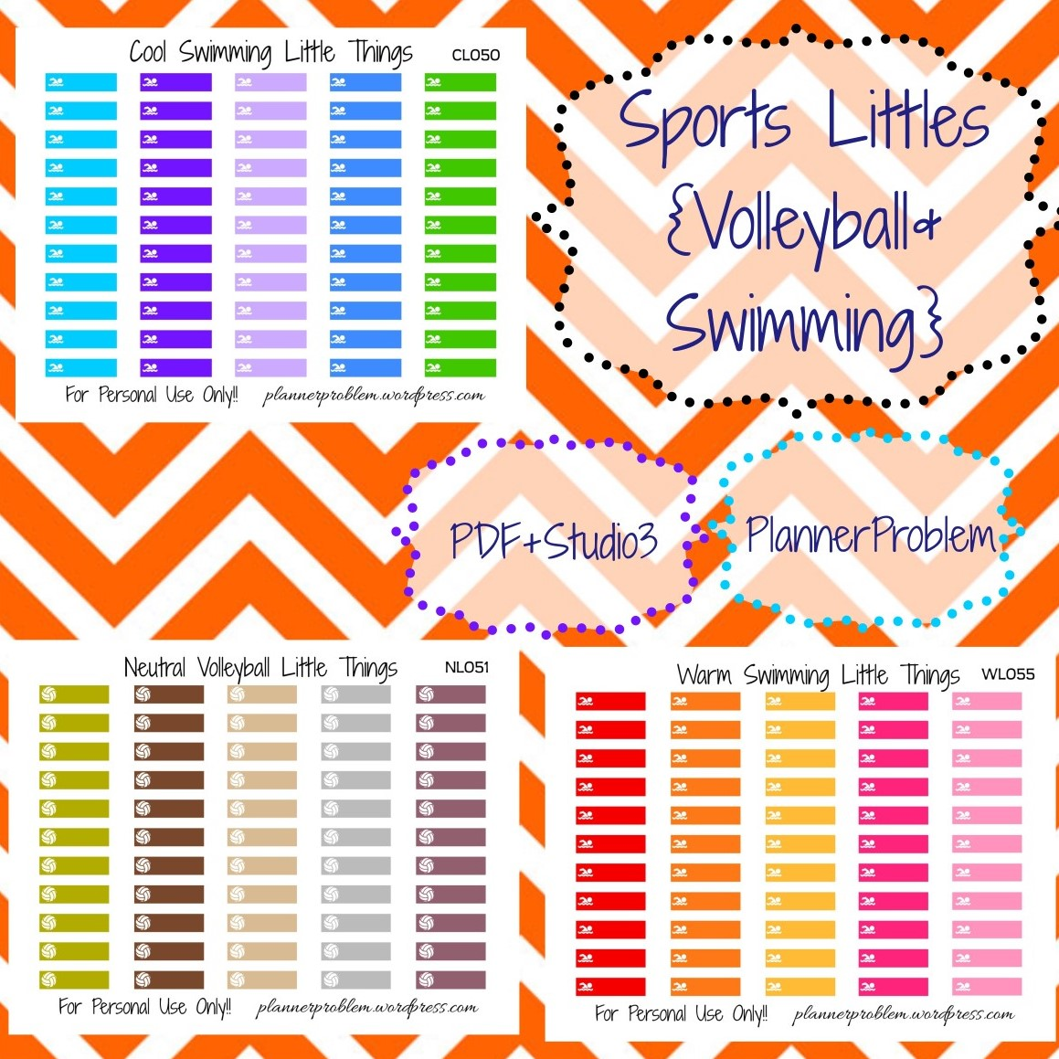 image regarding Free Printable Planner Stickers Pdf identified as Multicolor Volleyball Swimming Very little Elements (Sports activities #3