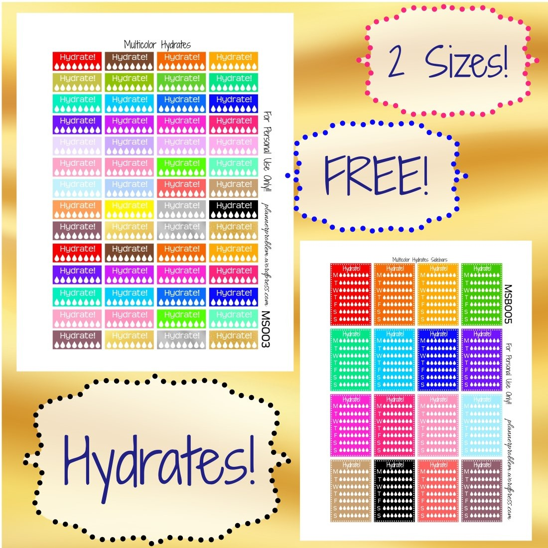 Multicolor Hydrate Trackers! | Free Printable Planner ...
