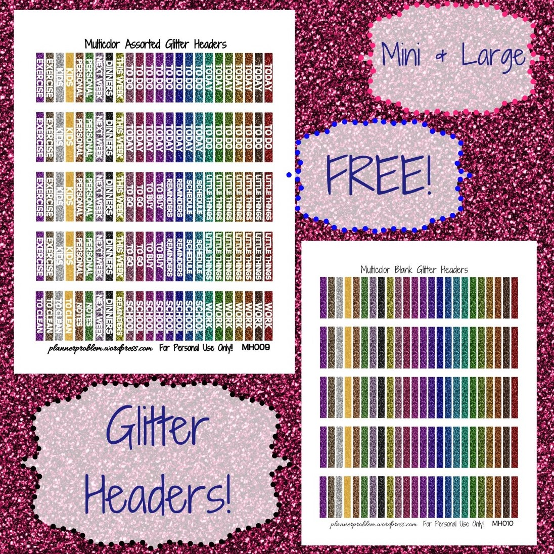 Multicolor Glitter Headers! | Free Printable Planner ...