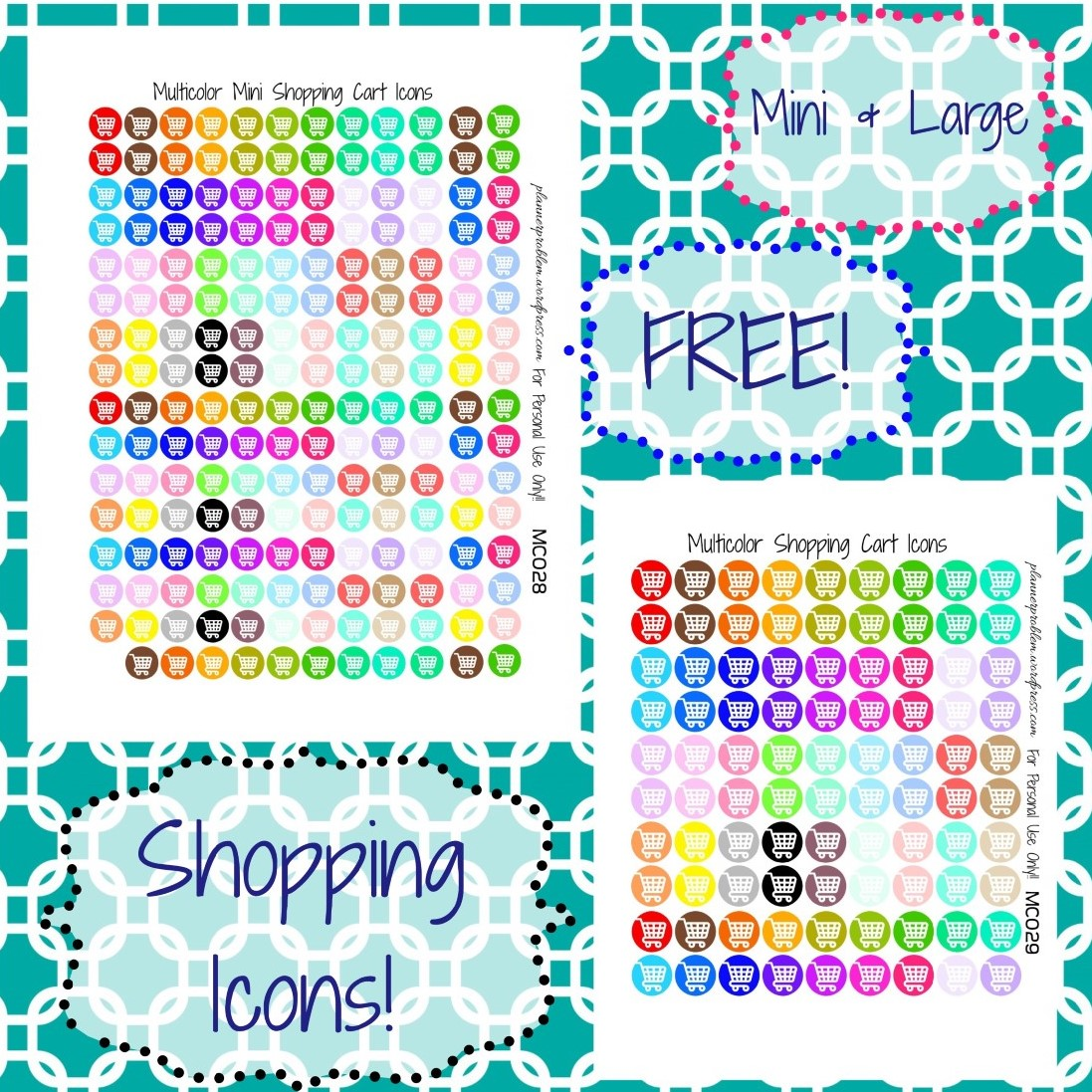 Multicolor Shopping Cart Icons | Free Printable Planner Stickers ...