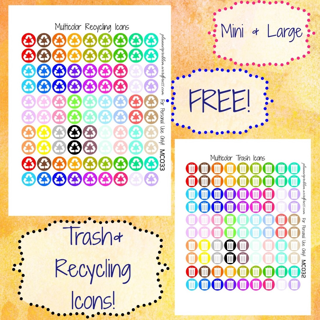 photograph about Recycle Labels Printable known as Multicolor Trash Recycling Icons No cost Printable Planner