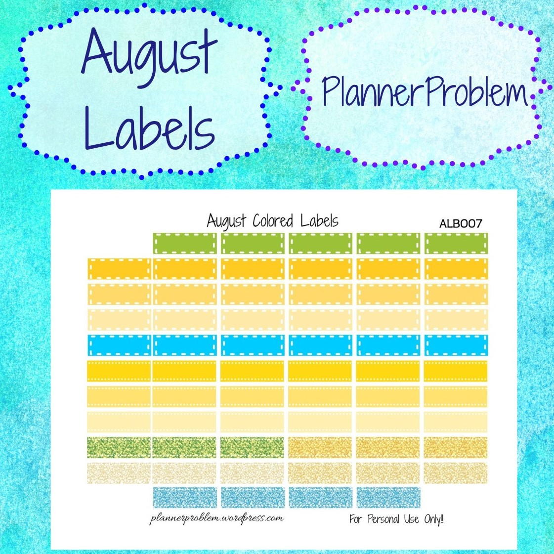 photograph relating to Colored Printable Labels known as August Coloured Labels Totally free Printable Planner Stickers