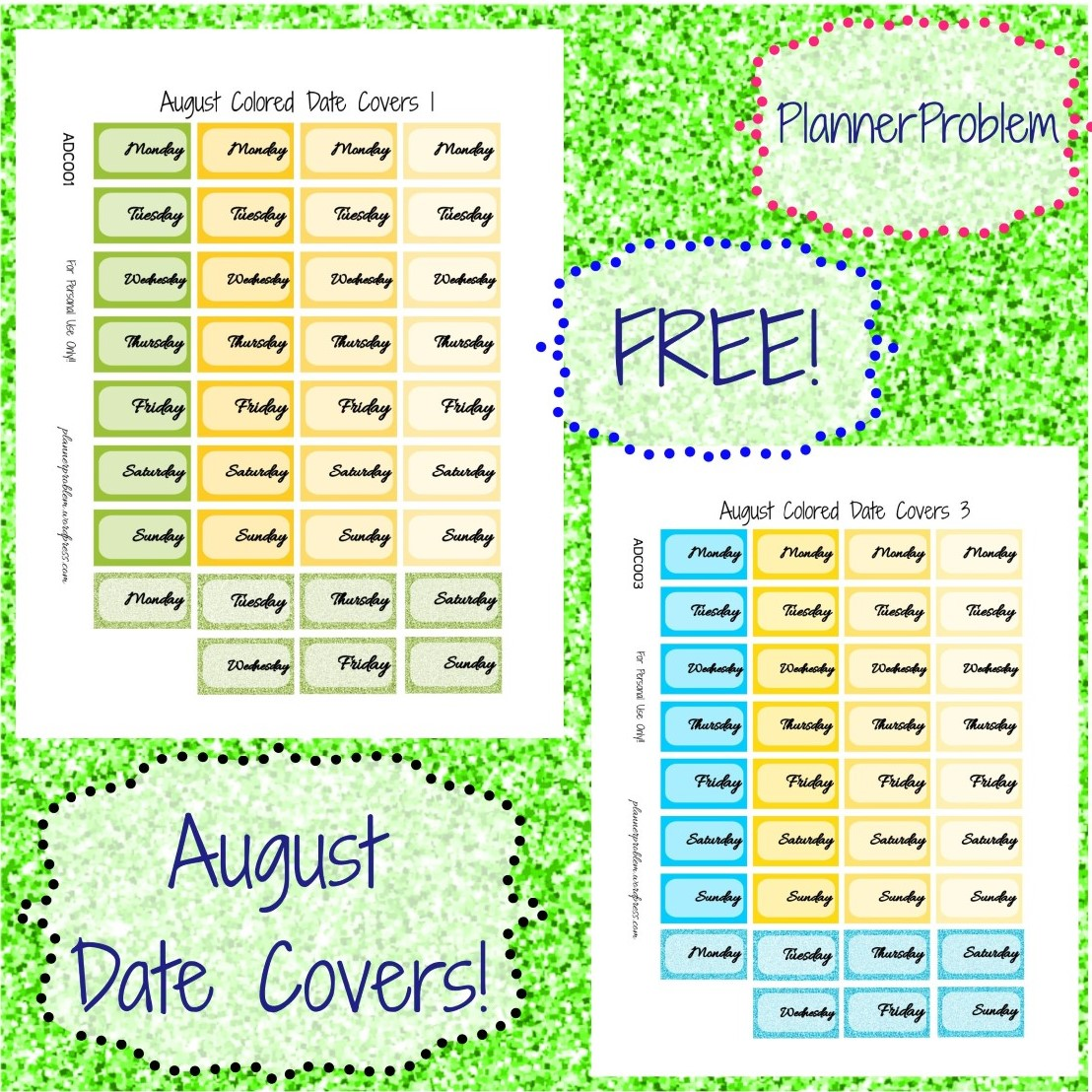 photo relating to Colored Printable Labels identified as August Shades PlannerProblem