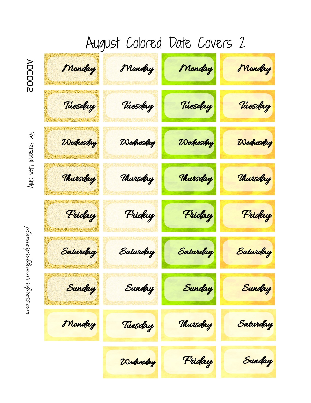 August Colored Date Covers! | Free Printable Planner ...