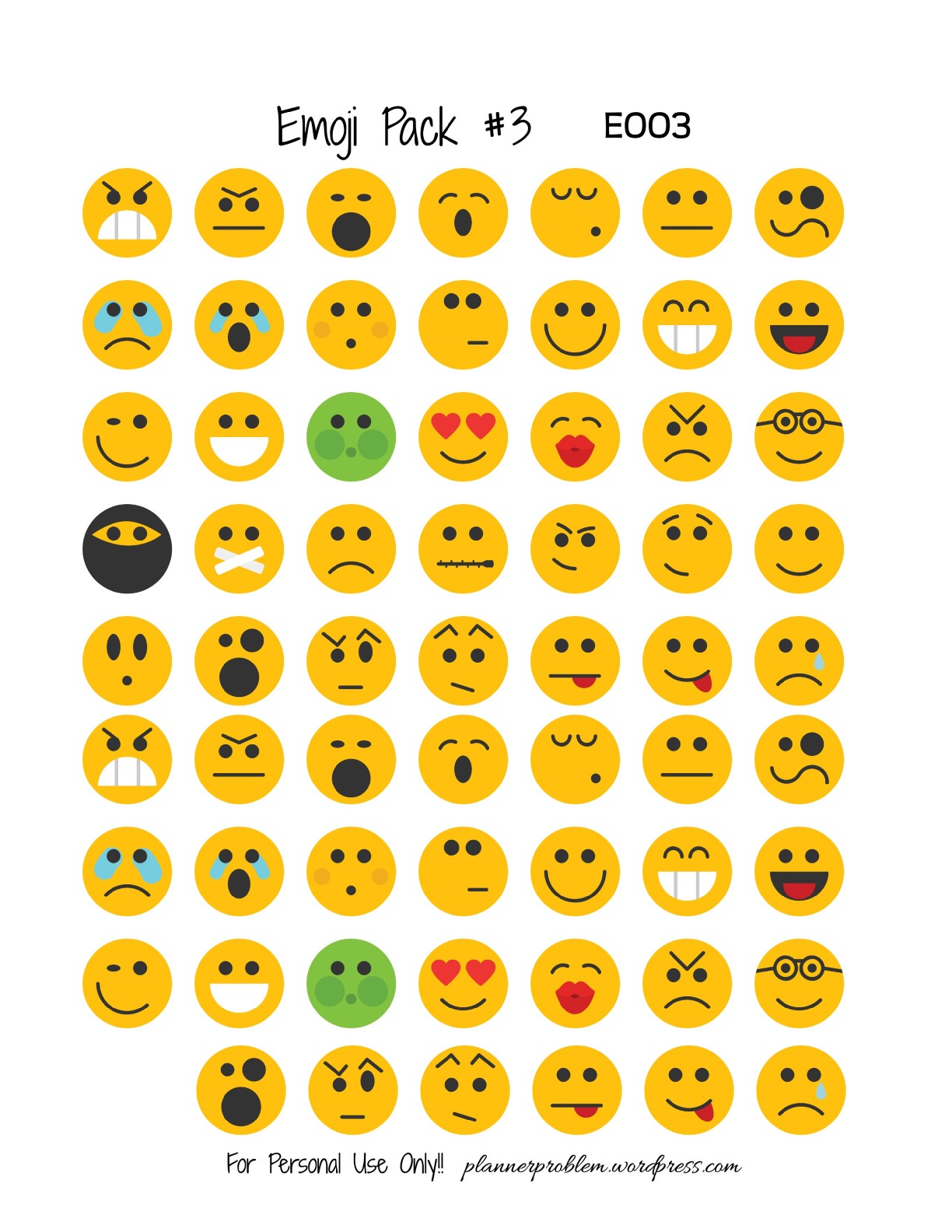 graphic about Emoji Printable Sheets identified as Emoji Pack #3! Absolutely free Printable Planner Stickers