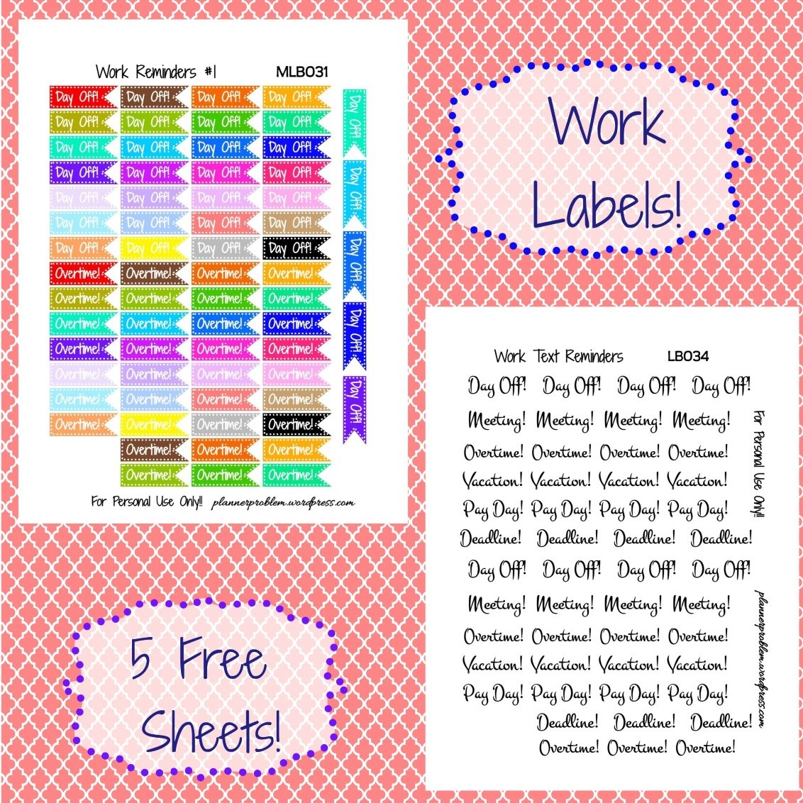 Multicolor Work Reminders & Decorative Text! | Free ...