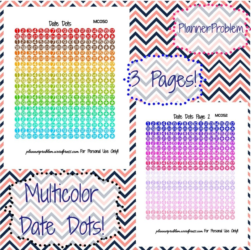 Multicolor date dots free printable planner stickers