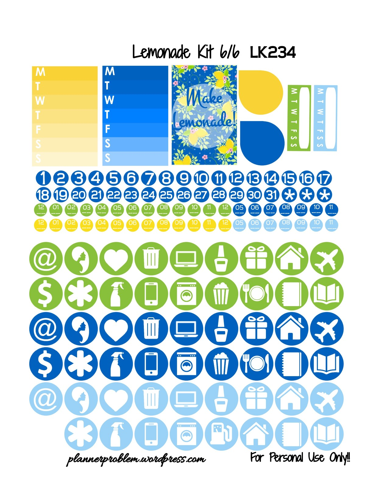 Lemonade Kit! | Free Printable Planner Stickers ...