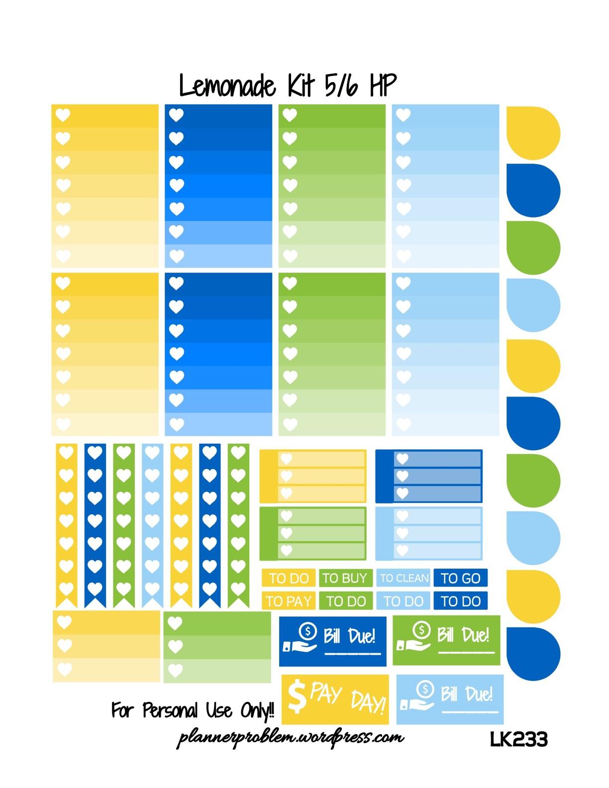 Lemonade Kit! | Free Printable Planner Stickers ...