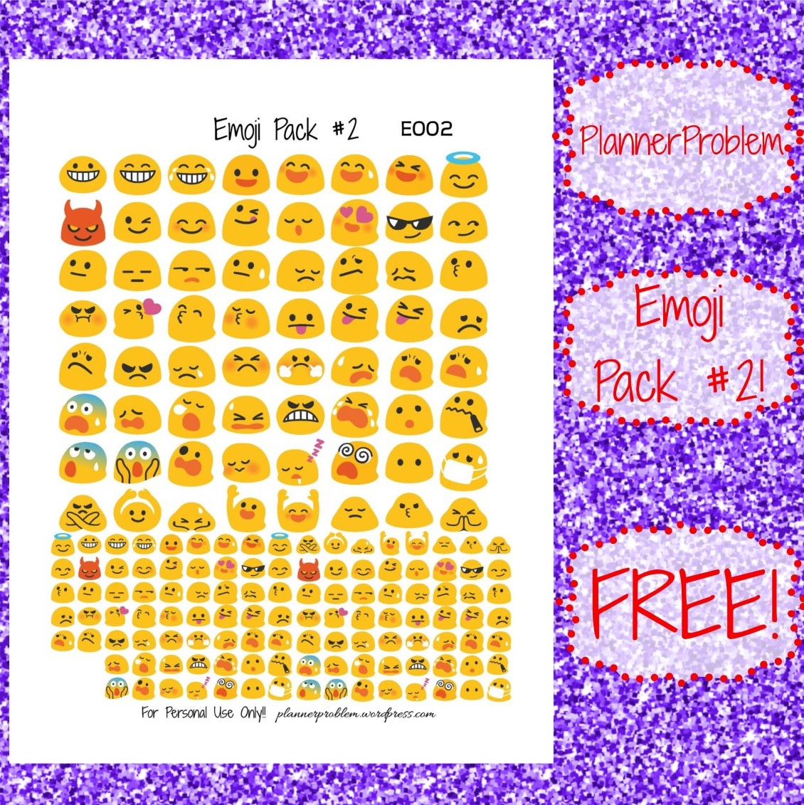 image about Printable Emoji Stickers identified as Emoji Pack #2- Blob-mojis! Totally free Printable Planner Stickers