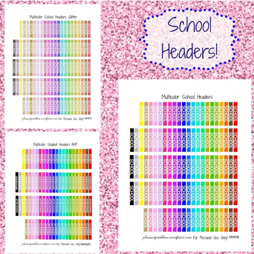 multicolor school headers free printable planner stickers