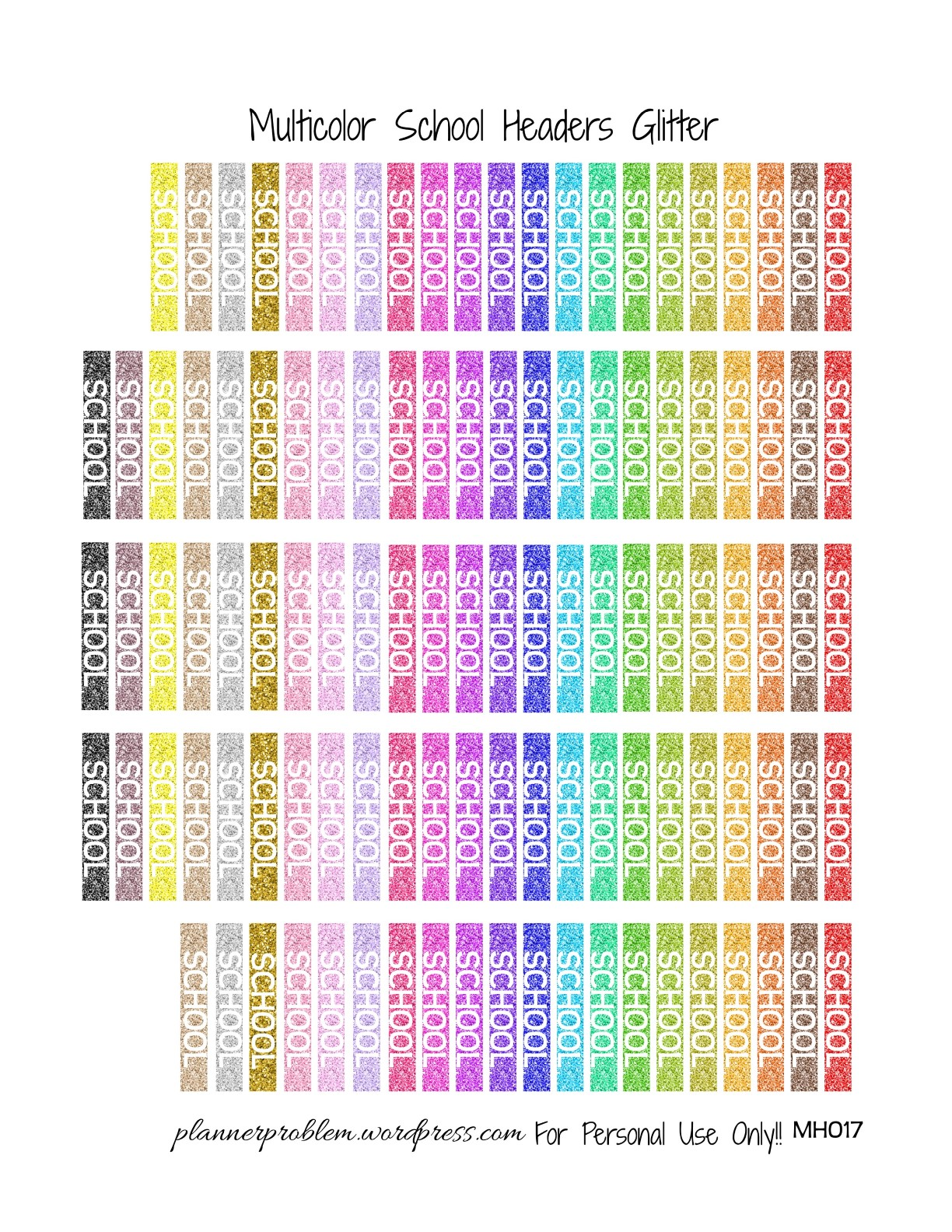 Multicolor School Headers! | Free Printable Planner ...