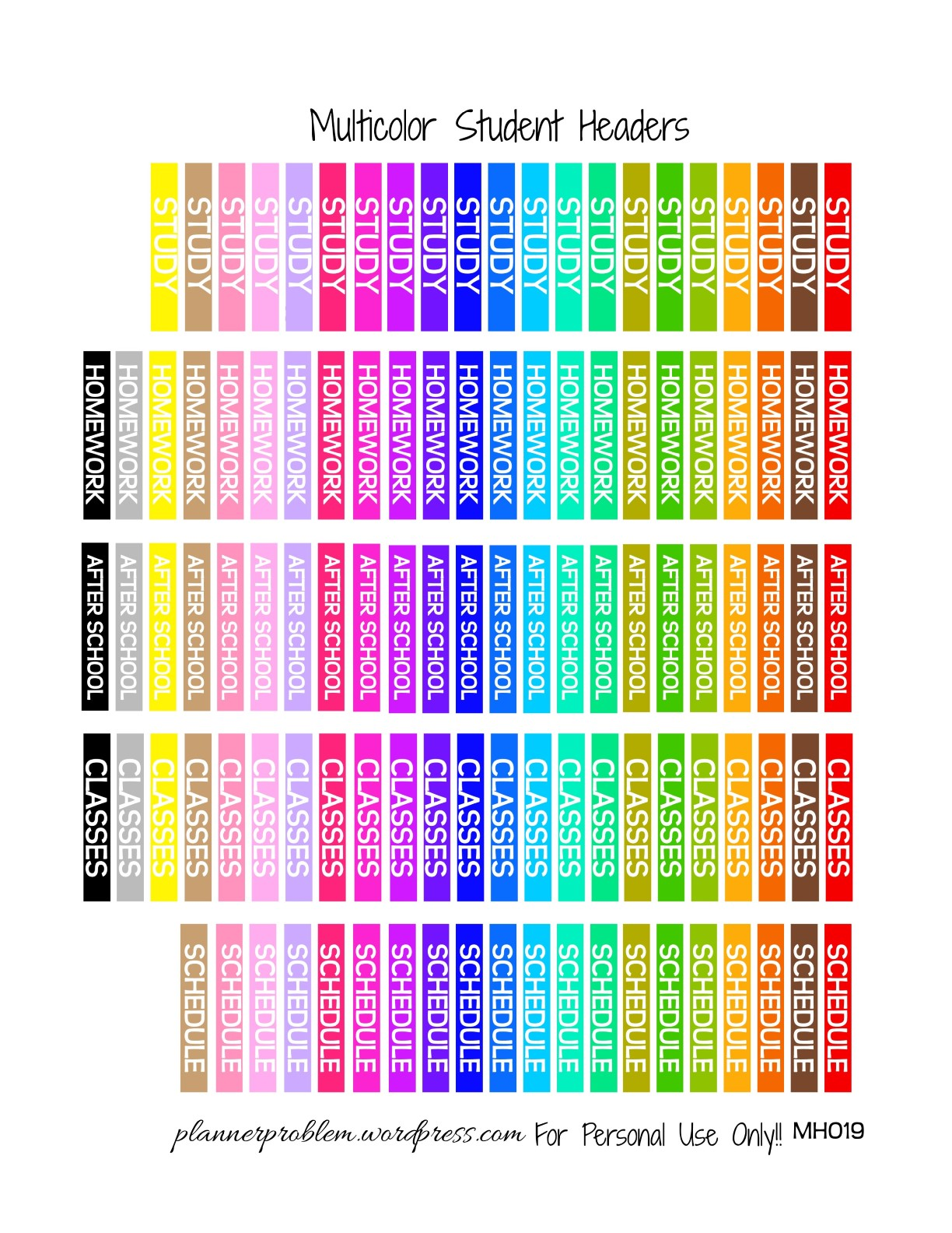 picture relating to Free Planner Sticker Printables named Multicolor University Headers! Totally free Printable Planner Stickers