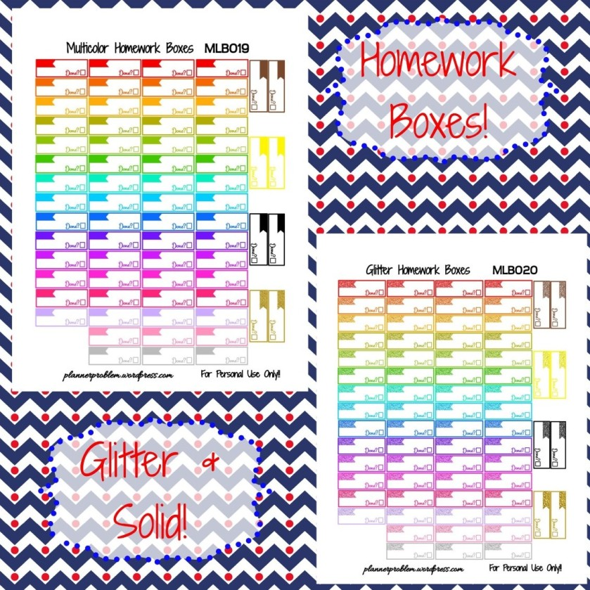 Multicolor Homework Boxes! {Glitter & Solid} | Free Printable ...