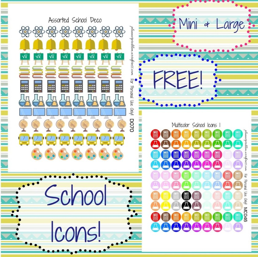 multicolor school icons school deco free printable planner stickers