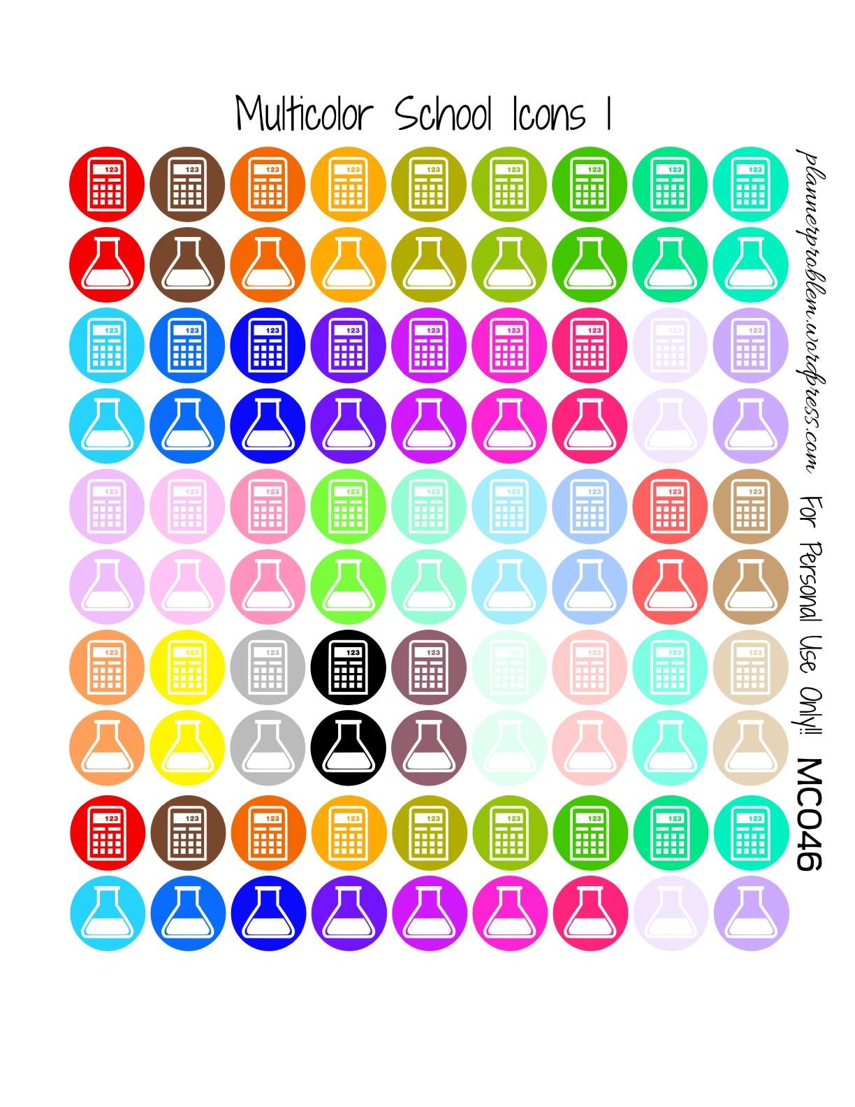 Multicolor School Icons & School Deco! | Free Printable ...