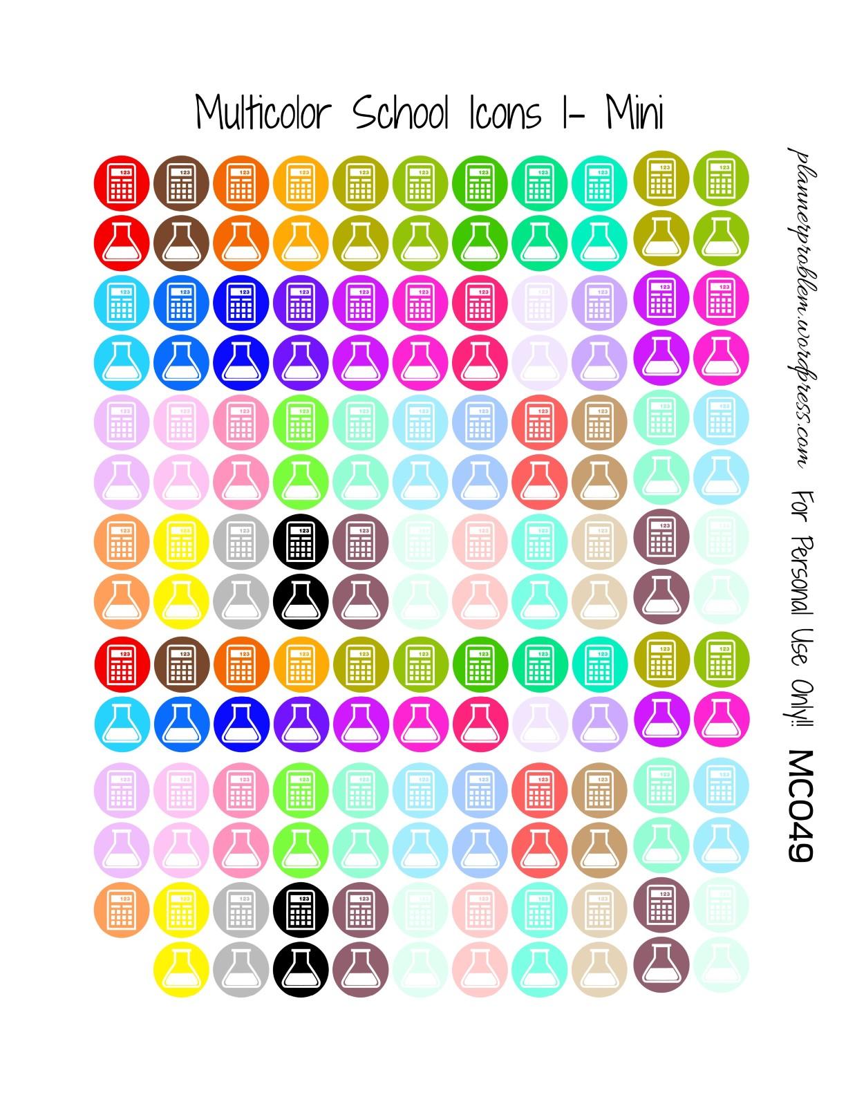 multicolor school icons  u0026 school deco