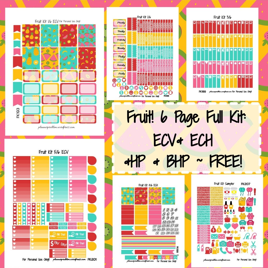Fruit KIT! | Free Printable Planner Stickers – PlannerProblem