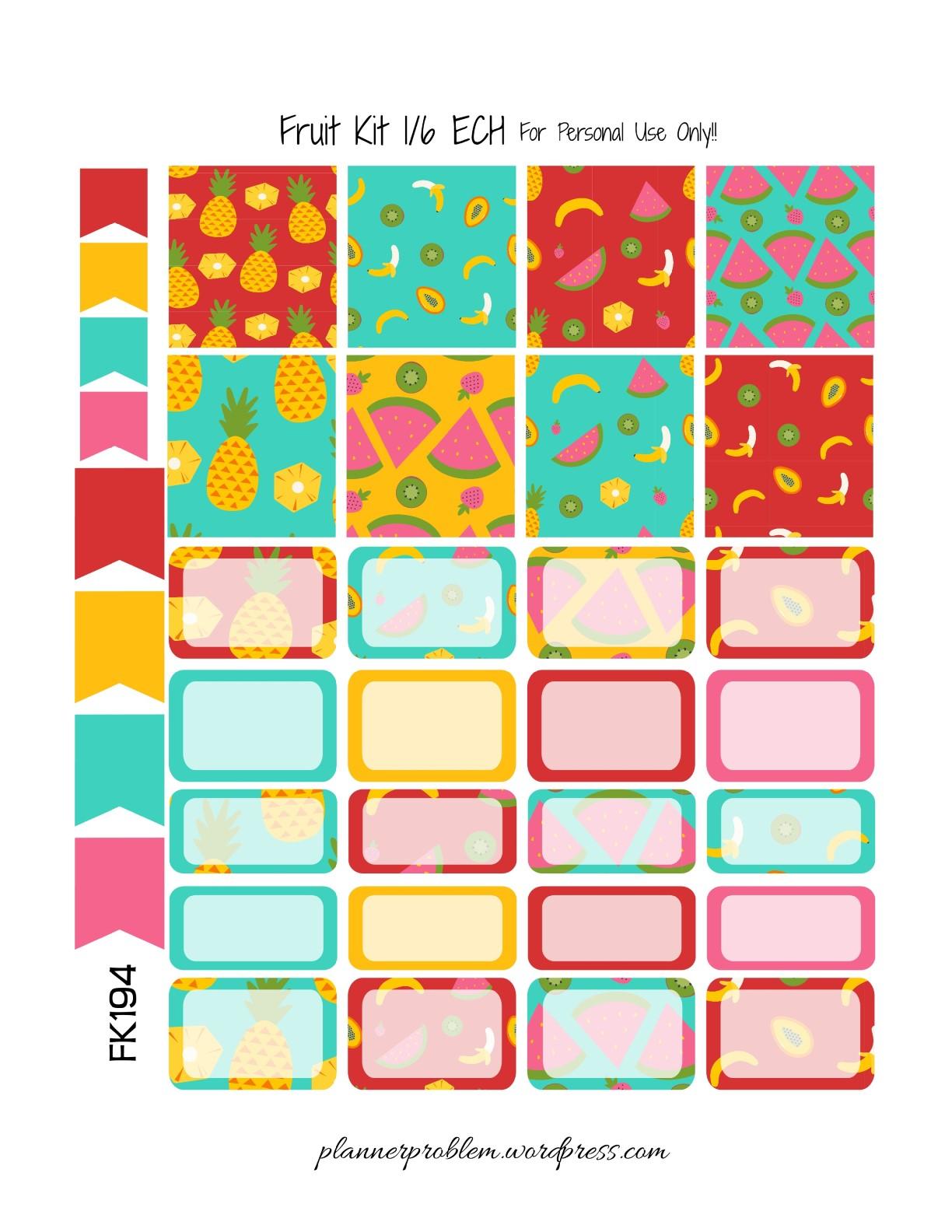 Fruit KIT! | Free Printable Planner Stickers – PlannerProblem