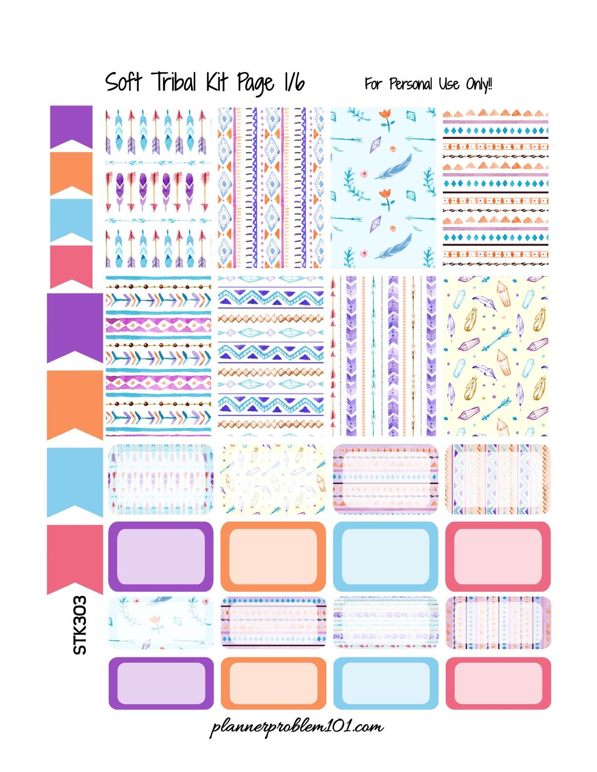 Soft Tribal KIT! | Free Printable Planner Stickers ...