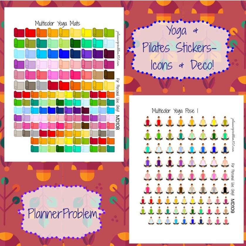 Multicolor Yoga Pilates Icons Deco Free Printable Planner