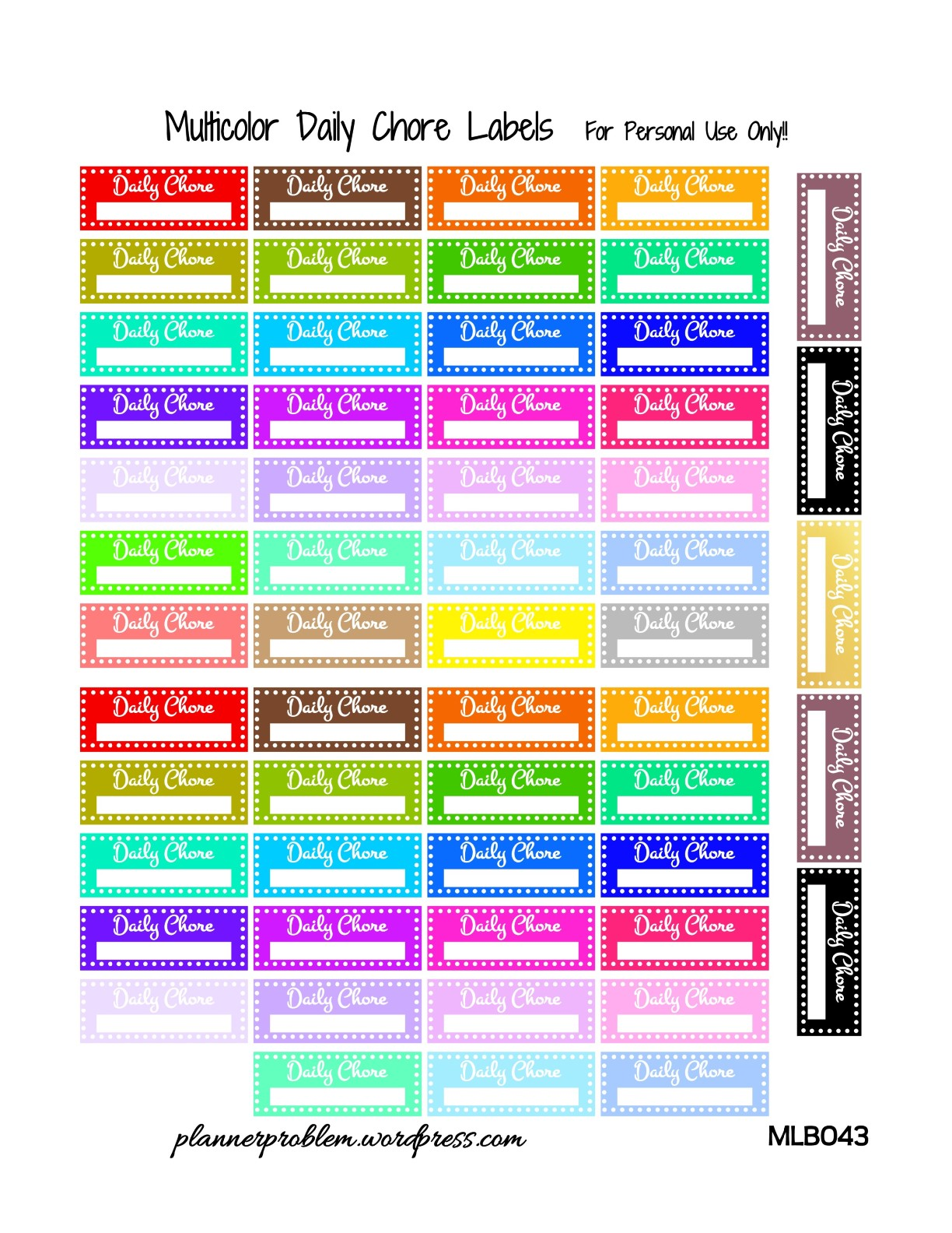 Multicolor Daily Chore Labels! {Glitter & Solid} | Free ...