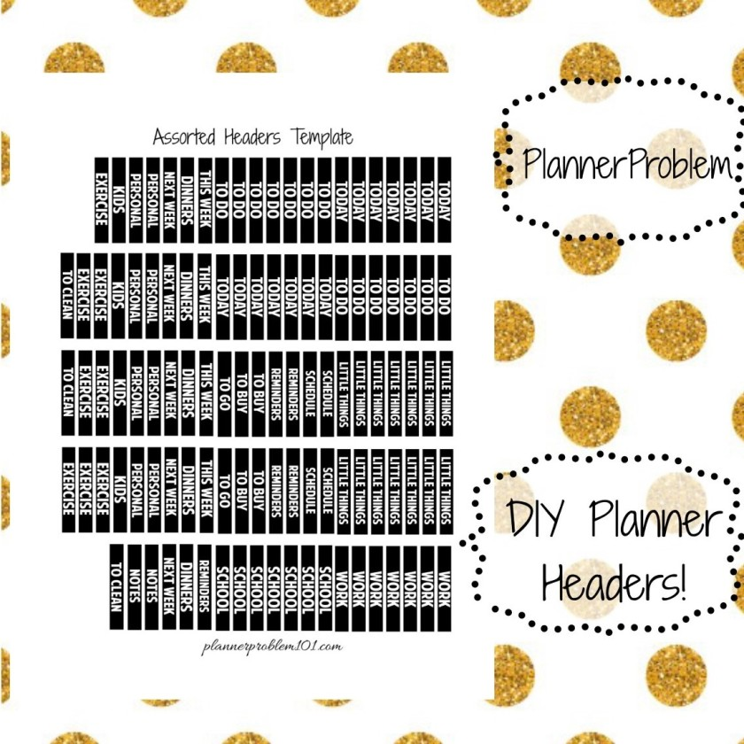 new customizable headers template free printable planner