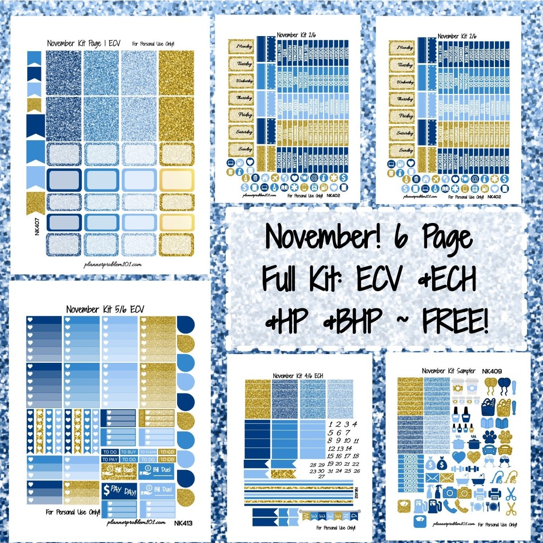 Happy With Printables Calendar November : November weekly kit free printable planner stickers
