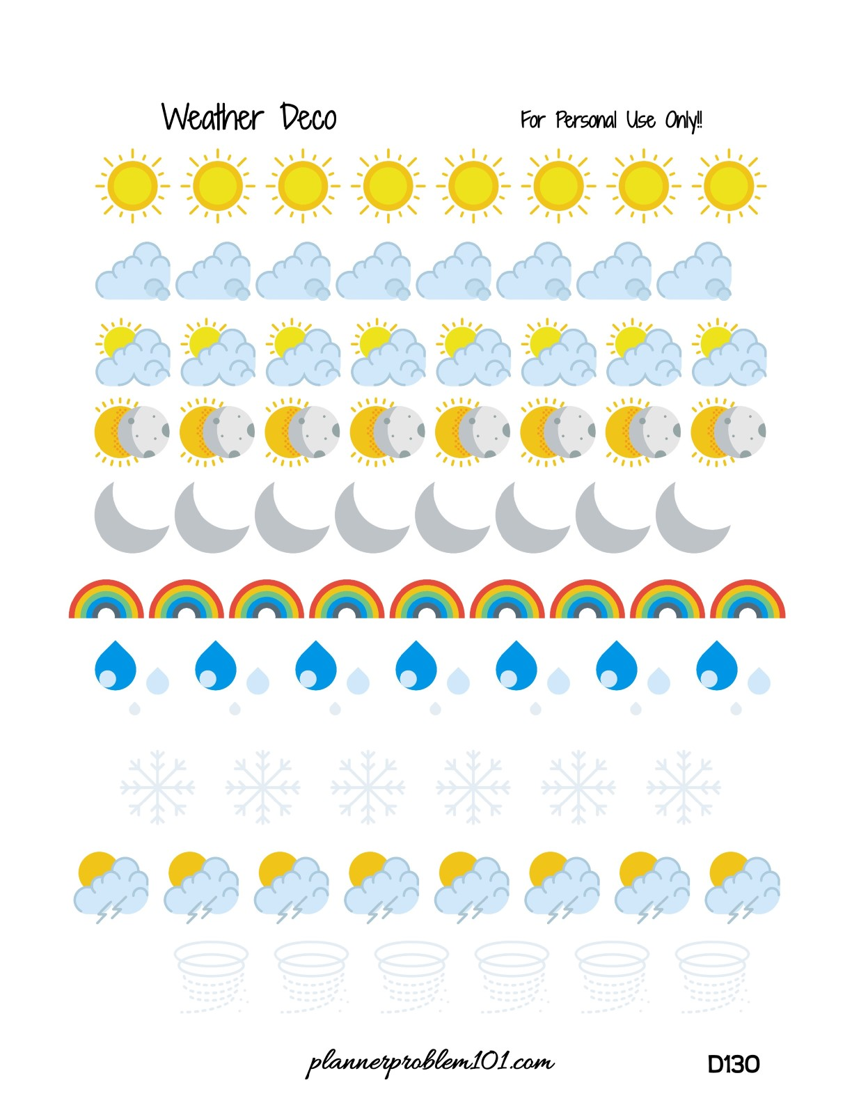 weather icons free printable planner stickers u2013 plannerproblem