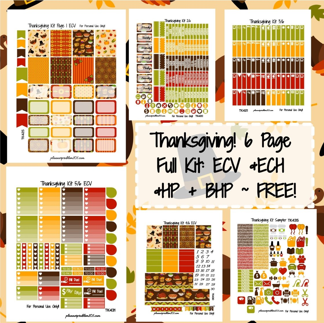 photograph relating to Happy Planner Free Printable Stickers named Thanksgiving Package! No cost Printable Planner Stickers