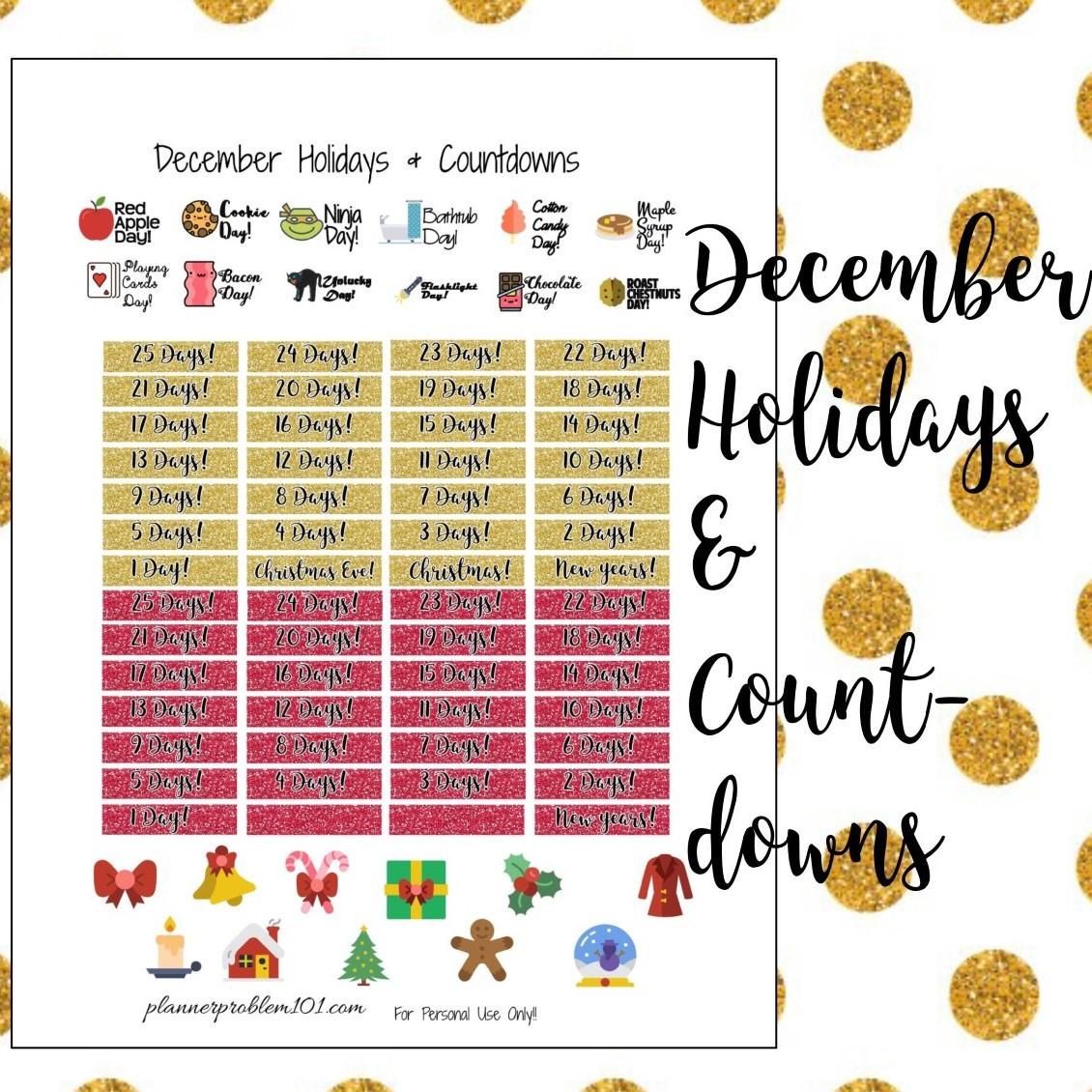 December Holidays & Holiday Countdowns!   Free Printable ...