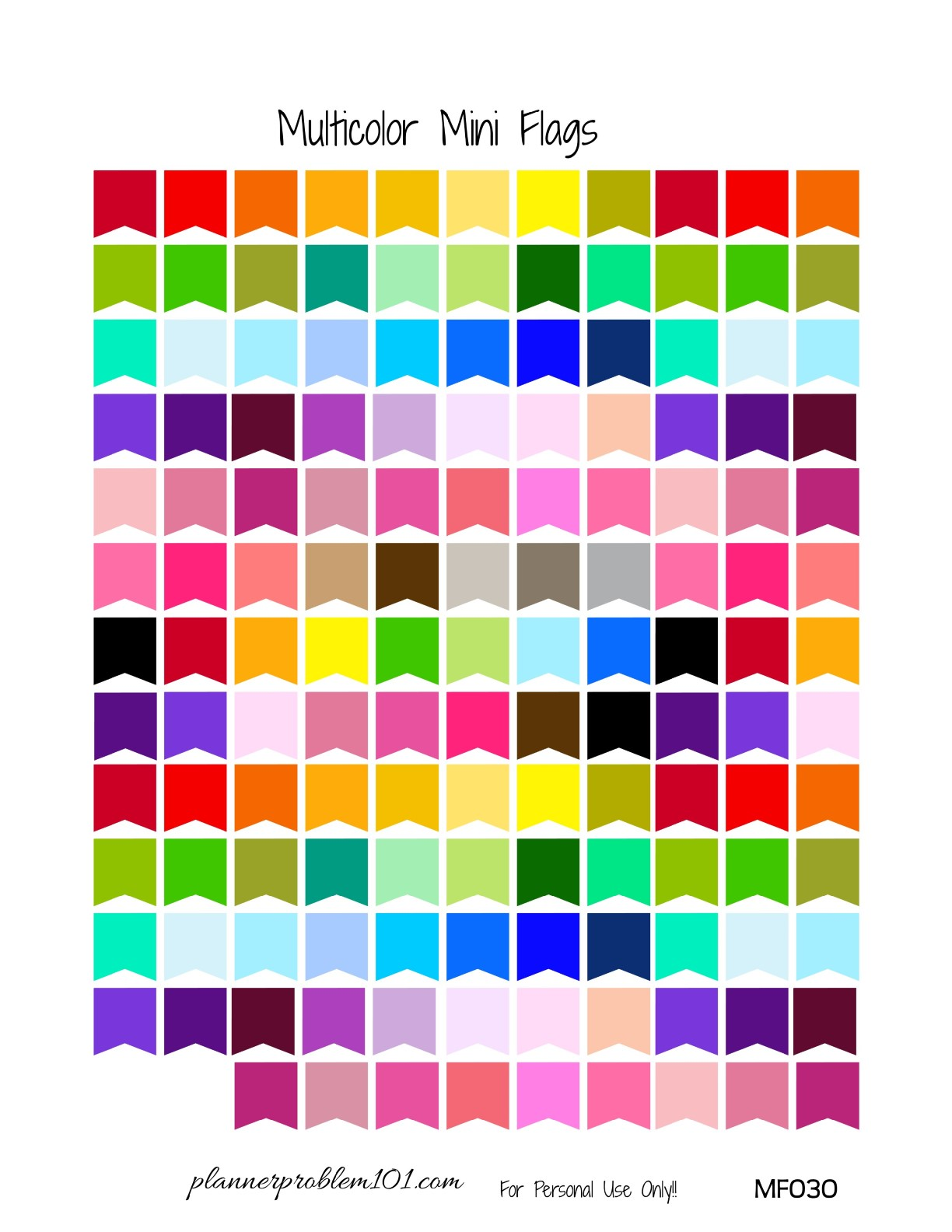 Multicolor Mini Page Flags   Free Printable Planner ...