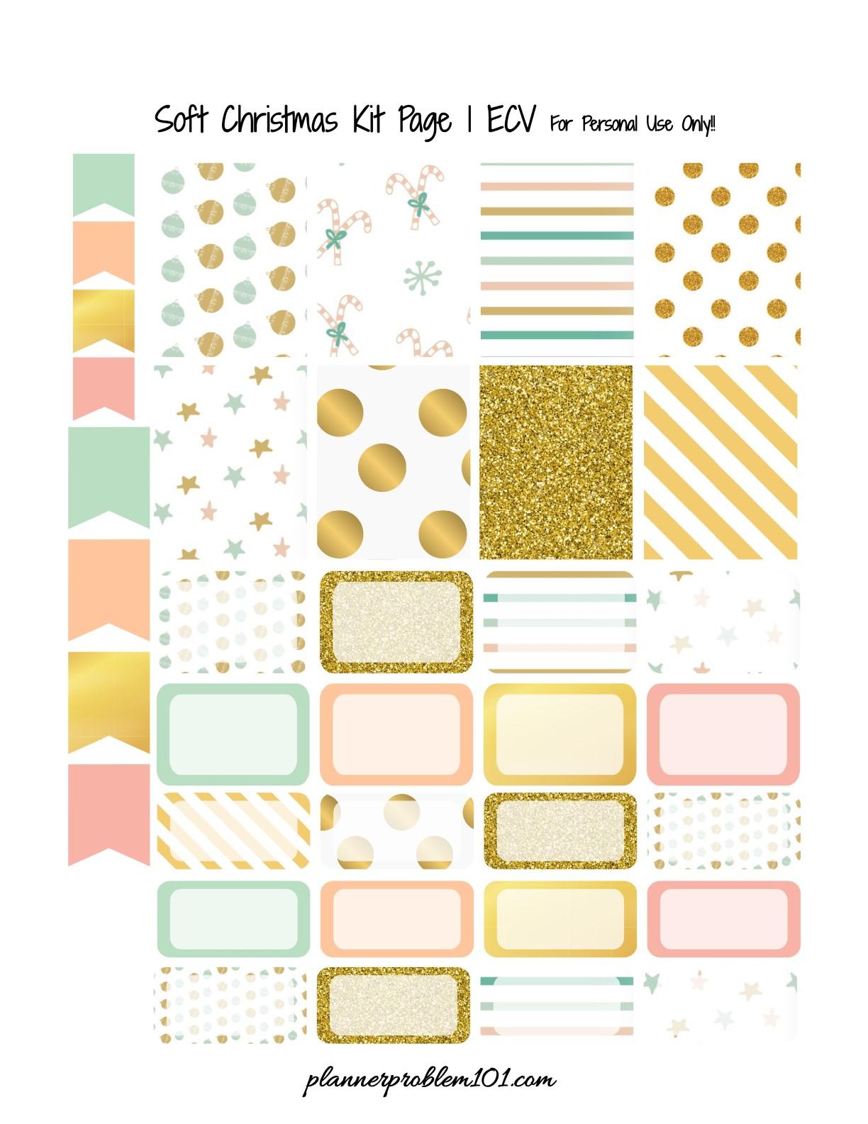 Soft Christmas Kit! | Free Printable Planner Stickers ...