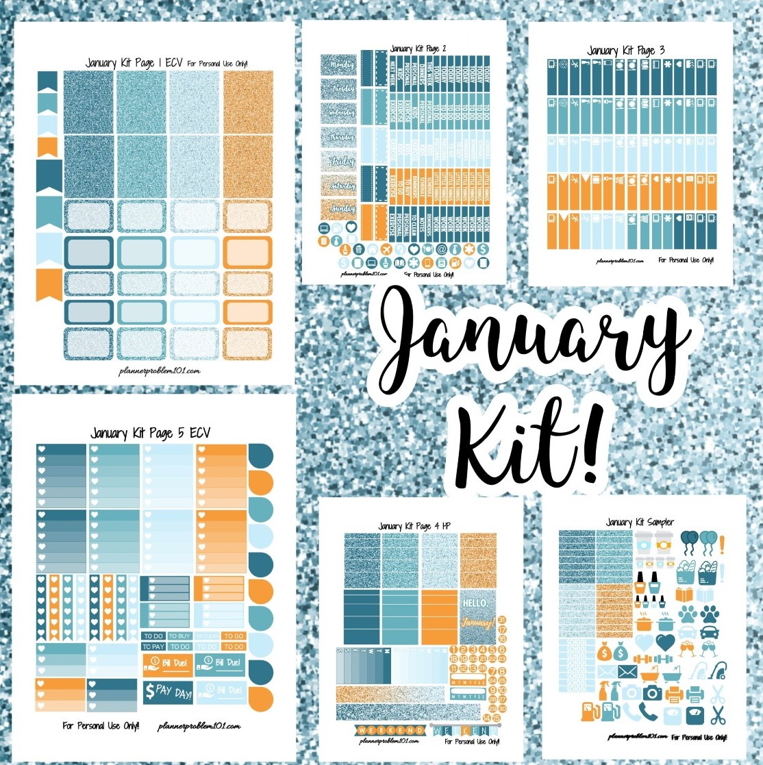 graphic relating to Printable Stickers Free identified as January Colours Weekly Package! Free of charge Printable Planner Stickers