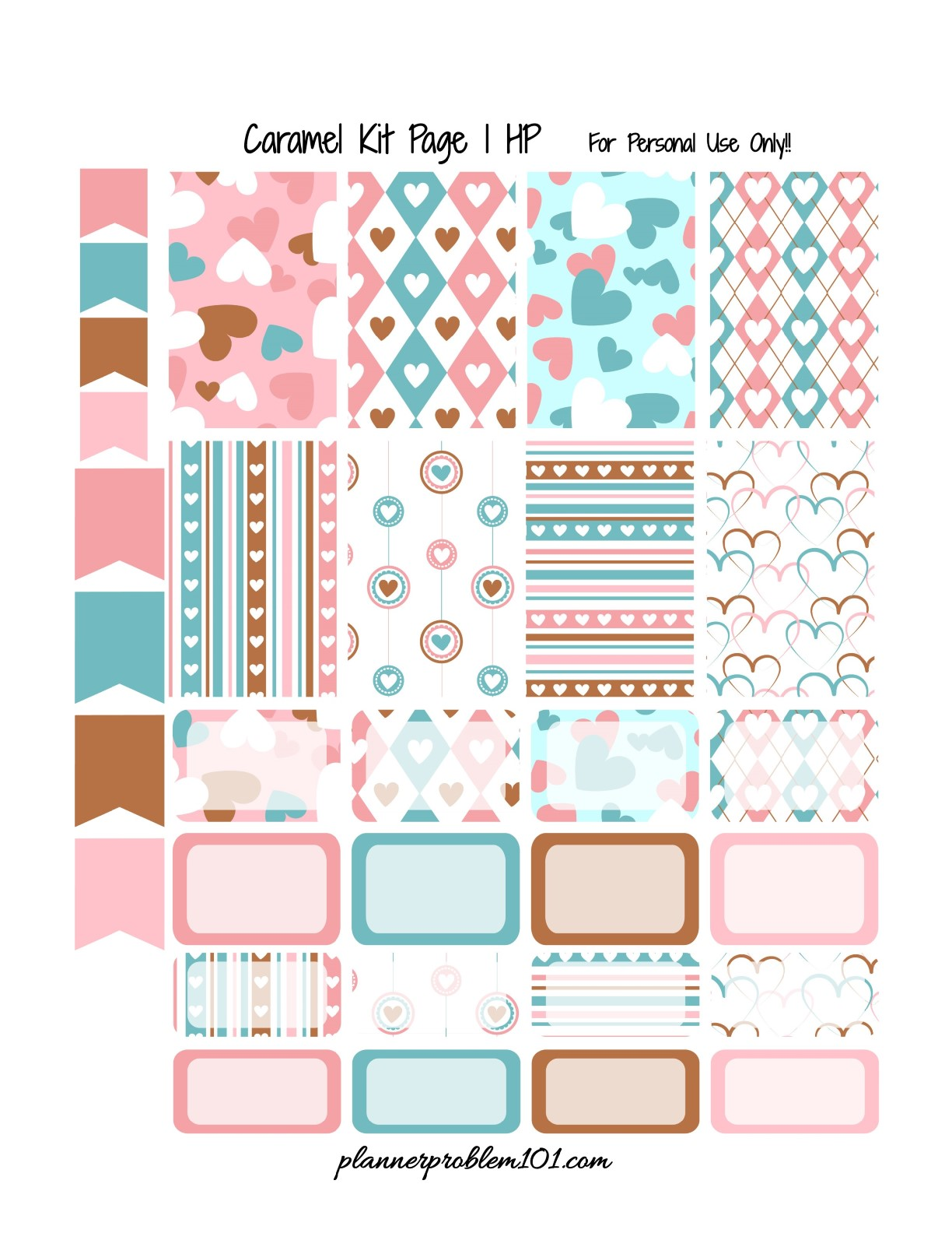 Caramel Valentine KIT! | Free Printable Planner Stickers ...
