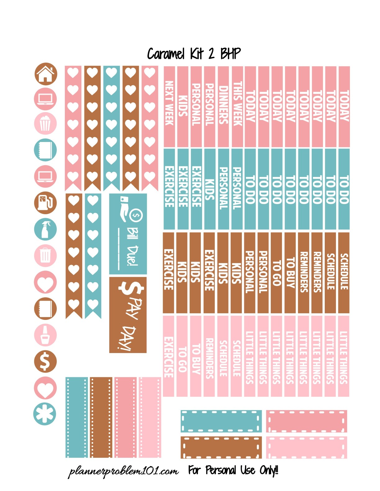 Caramel Valentine KIT! | Free Printable Planner Stickers ...
