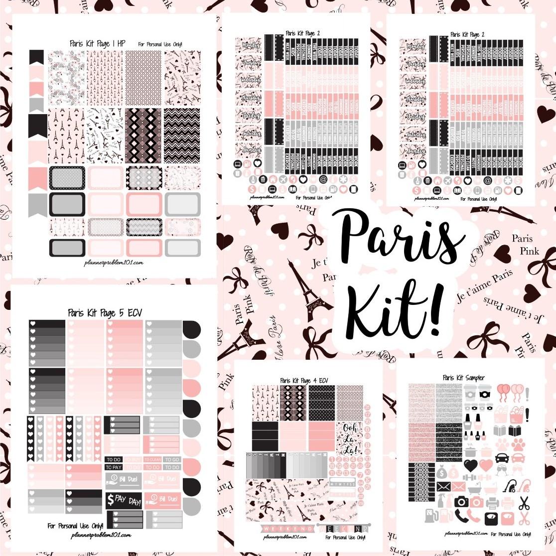 Paris Kit Free Printable Planner Stickers PlannerProblem
