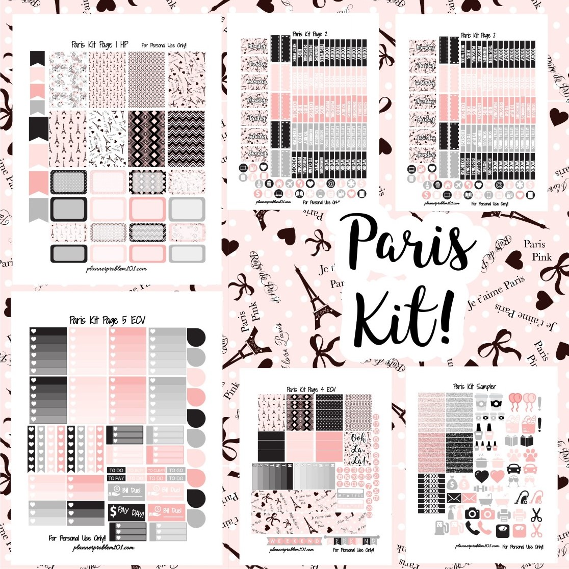 graphic relating to Free Printable Stickers called Paris Package! No cost Printable Planner Stickers PlannerProblem
