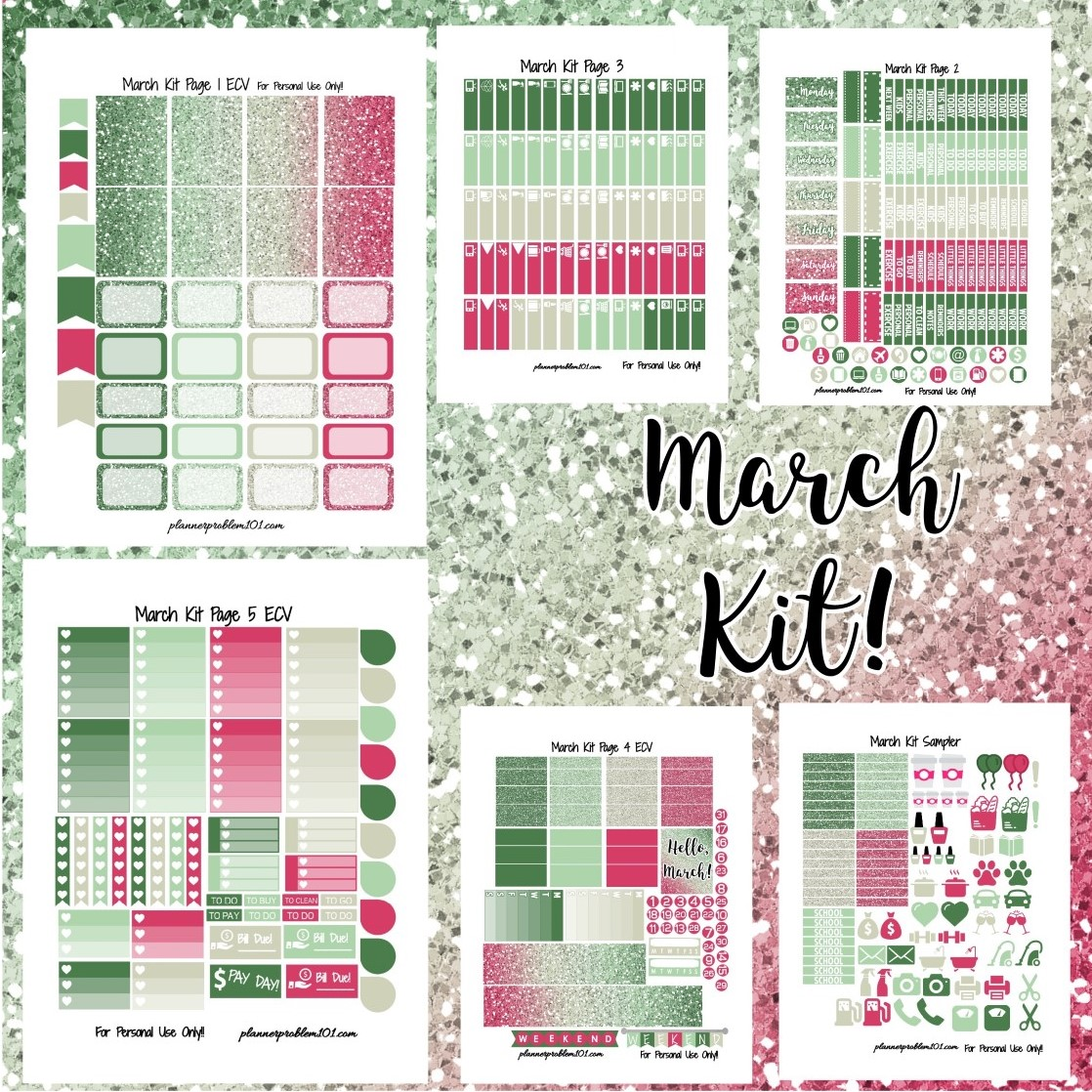 March Glitter Kit! | Free Printable Planner Stickers ...