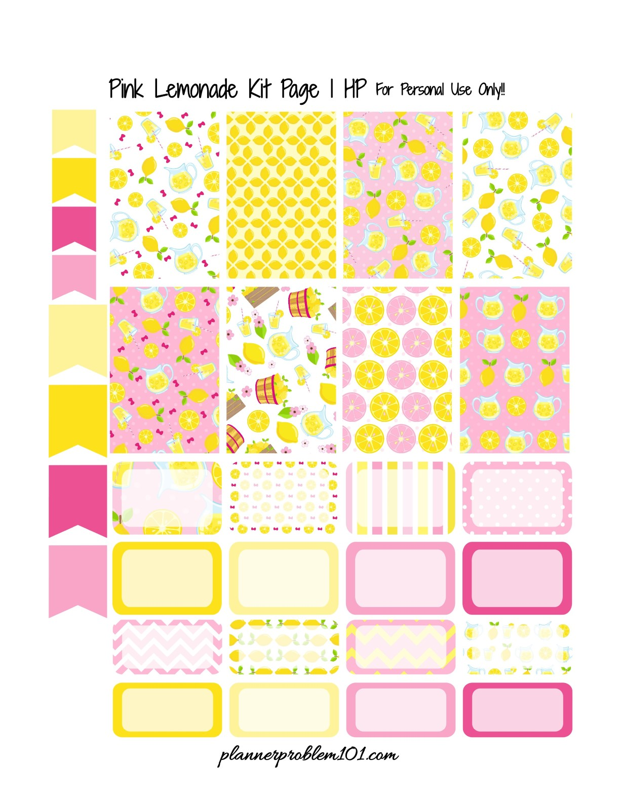 Pink Lemonade Kit! | Free Printable Planner Stickers ...