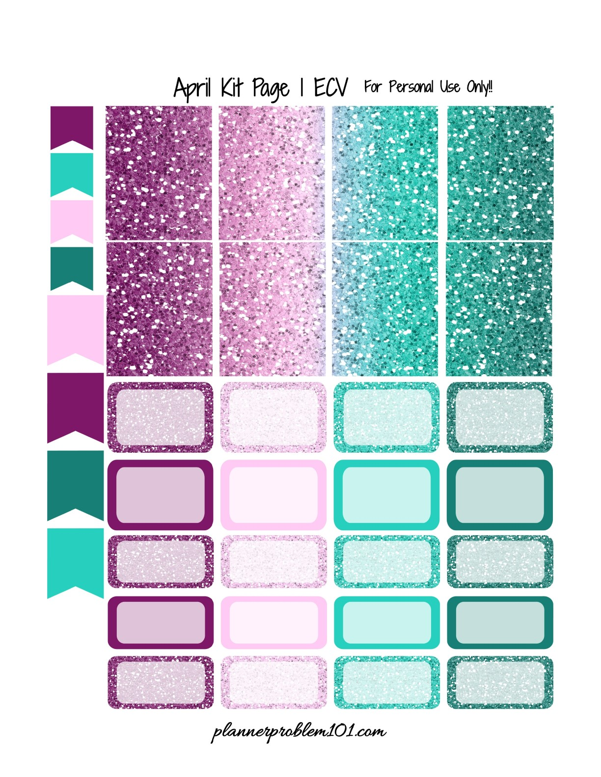 April Glitter Kit! | Free Printable Planner Stickers ...